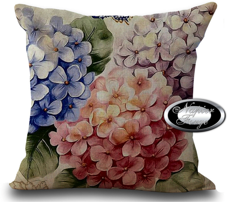 Farmhouse Cotton Linen Cushion 45cm x 45cm - Design Vintage Hydrangea Bouquet *Free Shipping
