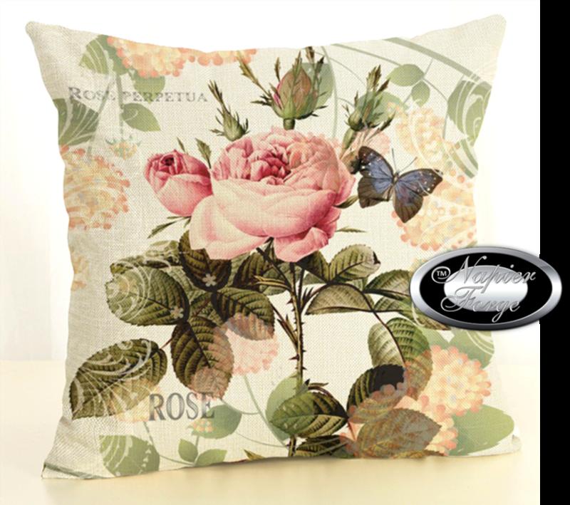 Farmhouse Cotton Linen Cushion 45cm x 45cm - Design Heirloom Rose Perpetua *Free Shipping