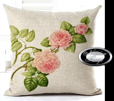 Farmhouse Cotton Linen Cushion 45cm x 45cm - Design Classic Rose Spray *Free Shipping