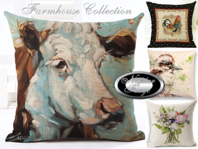 Farmhouse Cotton Linen Cushion 45cm x 45cm - Design (ANY COMBINATION BUNDLE OF 5) *Free Shipping