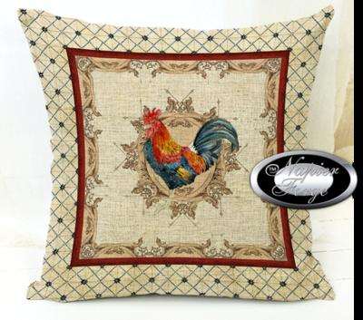 Farmhouse Cotton Linen Cushion 45cm x 45cm - Design Classic Rooster BGE Boarder