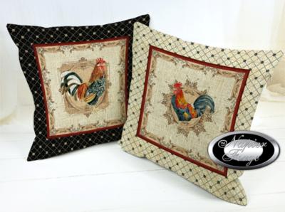 Farmhouse Cotton Linen Cushion 45cm x 45cm - (Set of 2) Design Classic Rooster NAVY & BGE Boarder