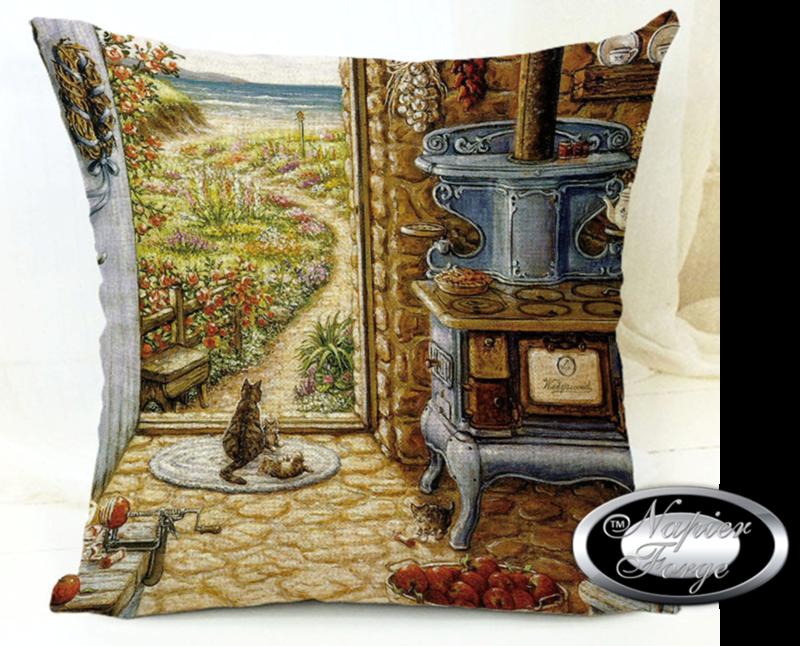 Farmhouse Cotton Linen Cushion 45cm x 45cm - Design Olde Homestead Cooker
