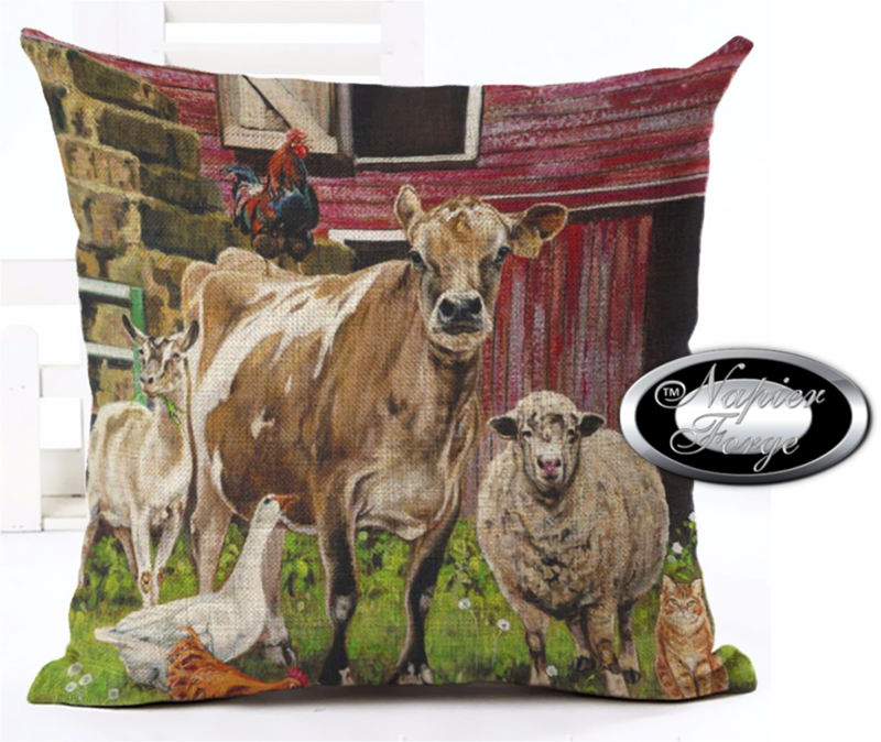 Farmhouse Cotton Linen Cushion 45cm x 45cm - Design Country Homestead Farm Animals