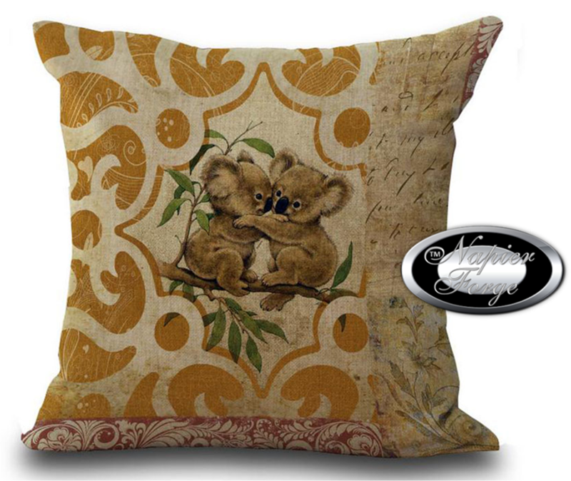 Farmhouse Cotton Linen Cushion 45cm x 45cm - Design Koala Duo