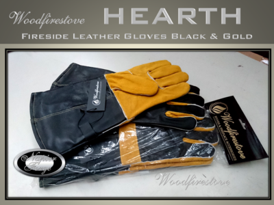 Premium Fireplace fire resistant LEATHER GLOVES Black & Gold / Fireside *Free Shipping