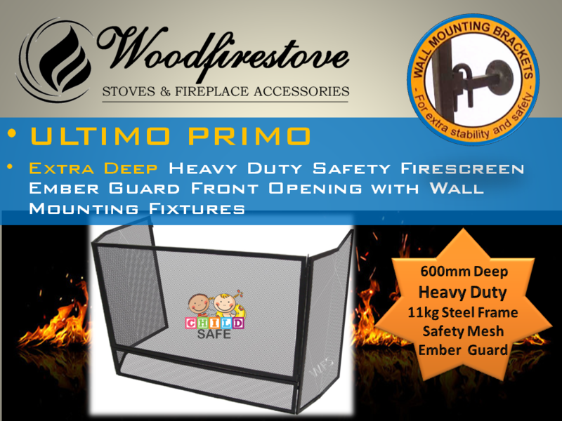 ULTIMO PRIMO WOOD HEATER CHILD SAFETY FIRESCREEN GUARD Fire Screen with MESH & STEEL FRAME Fireplace Screen *Australia Wide Shipping