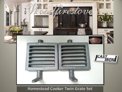 HOMESTEAD COOKER GRATE SET (TWIN) CAST IRON to suit models WE1 & WE2 *Free Shipping