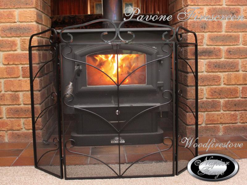 PAVONE Firescreen Decorative Wrought Iron adjustable petite fireplace screen