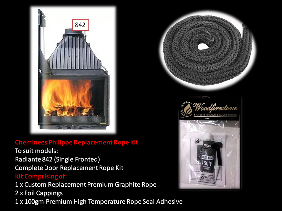 Cheminees Philippe RADIANTE 842 SINGLE DOOR ROPE SEAL KIT Replacement - Custom Size *Free Shipping
