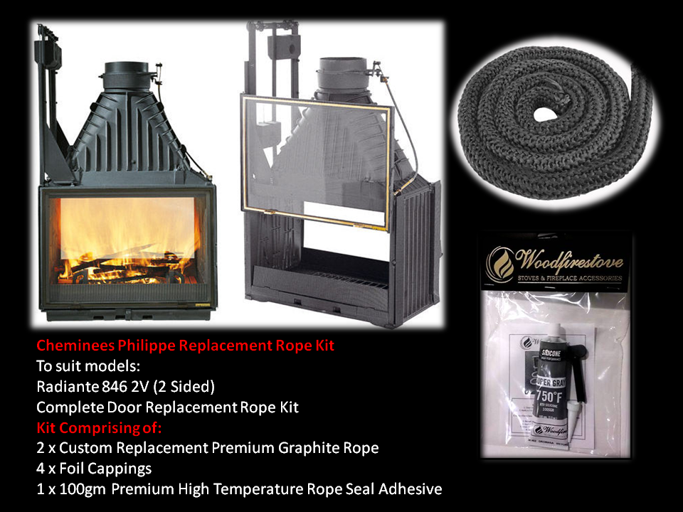 Cheminees Philippe RADIANTE 846 2V SINGLE DOOR ROPE SEAL KIT Replacement - Custom Size *Free Shipping