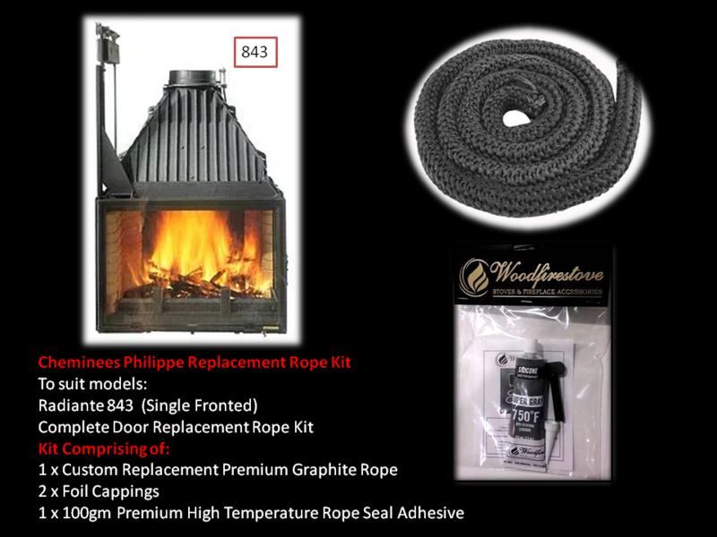 Cheminees Philippe RADIANTE 843 SINGLE DOOR ROPE SEAL KIT Replacement - Custom Size *Free Shipping