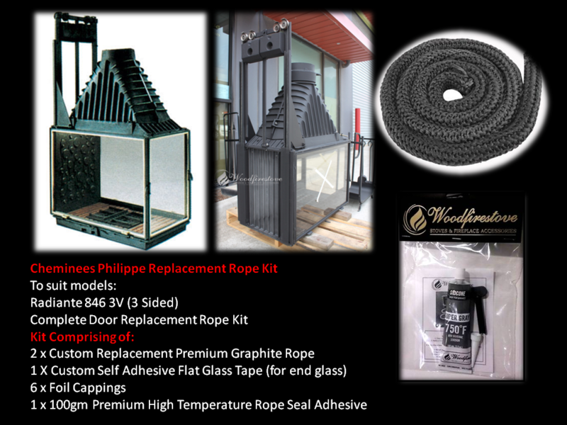 Cheminees Philippe RADIANTE 846 3V SINGLE DOOR ROPE SEAL KIT Replacement - Custom Size *Free Shipping