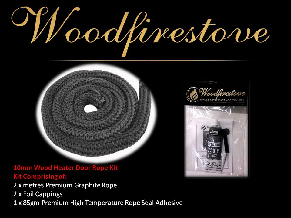 WOOD STOVE & HEATER Premium Graphite Fibreglass DOOR ROPE SEAL KIT (10mm) - 2 Metres *Free Shipping