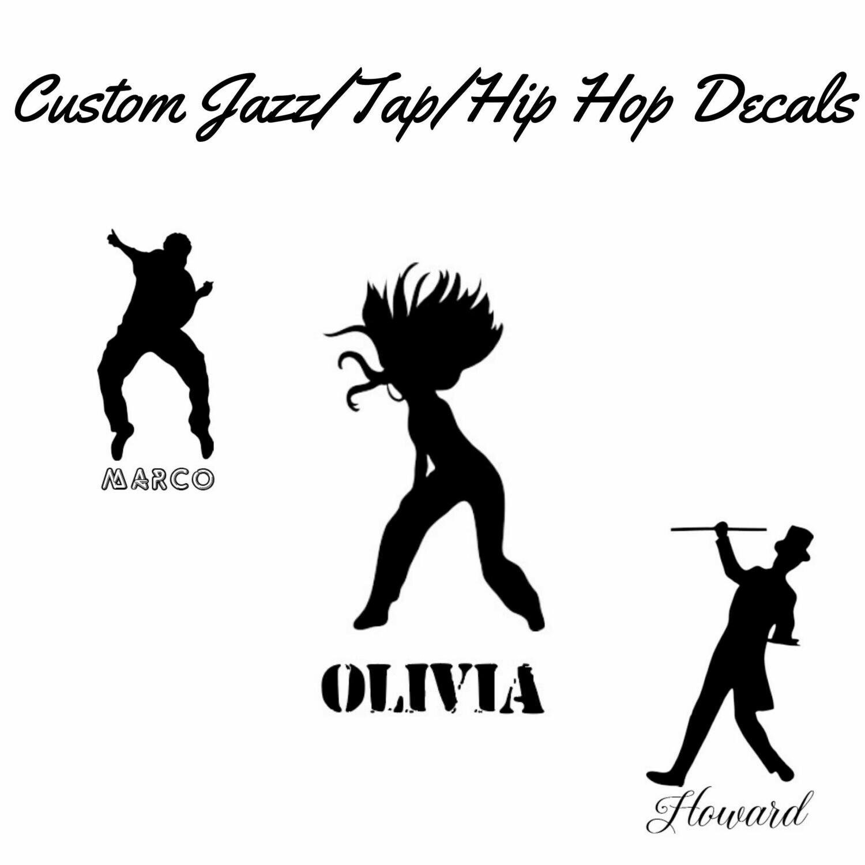 Custom Jazz/Tap/Hip Hop Decal (Figure and Name)