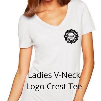 HAJC Ladies V-Neck Crest Logo Tee