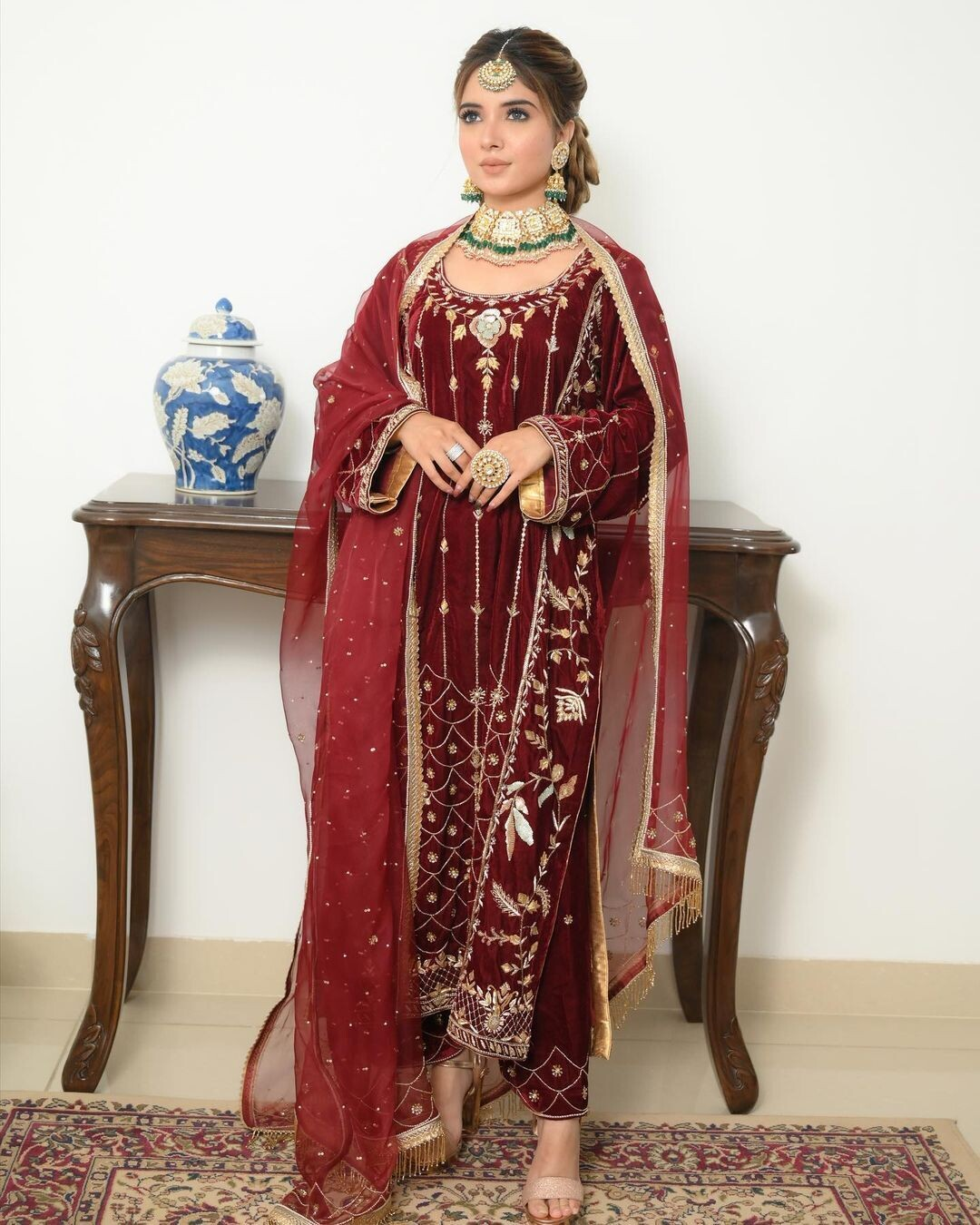 Beautifully Graceful Maroon Embroidered Punjabi Suit