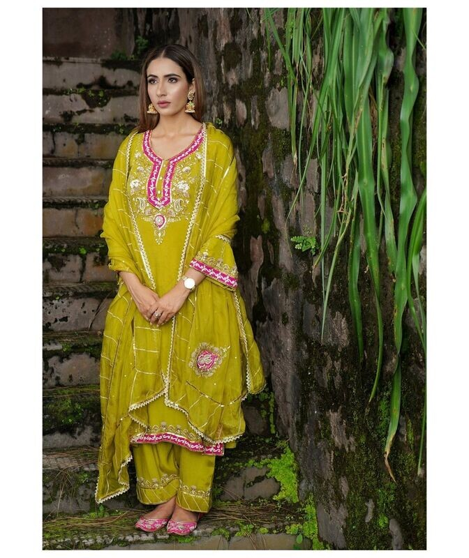 Lime Green Pakistani Suit
