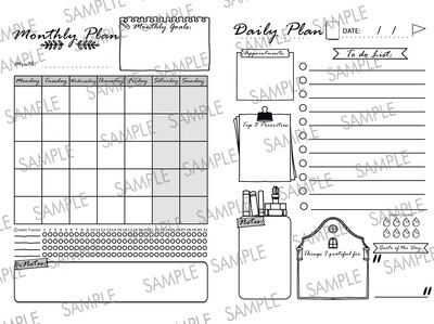 Combo Planner - Black and White - Size A4