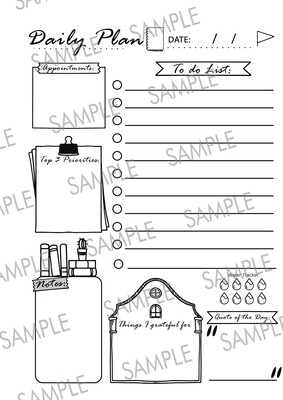 Daily Planner - Black and White - Size A4