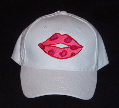 Red Leopard Print Lips Embroidered Baseball Cap