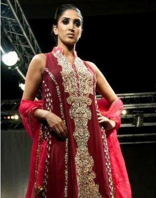 Red Sensational Full Flared  With Imperial Look Embroidery