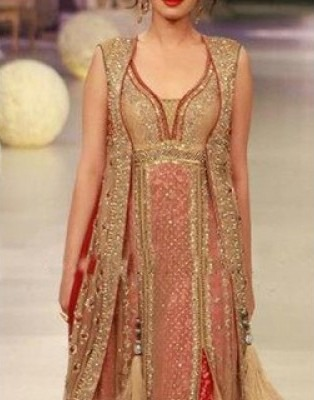 Perfect combination of Beige Brown and Red Frock lehenga