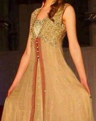 Piquancy Beige Long Dress Encrafted With Golden Work