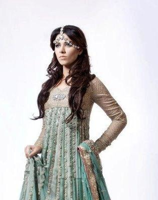 South Asian Light Green and Pink Bridal Frock Suit with Embellished Sharara
