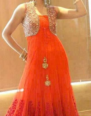 Orange Shimmery Outfit With Splendid Looks Of Suit