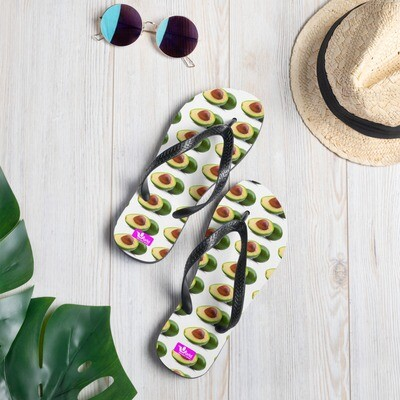 Avocado Guacamole Flip-Flops Beach Sandals Polyester Rubber Sole