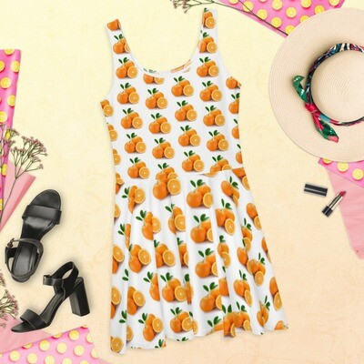 Pretty Orange Fruit Print Skater Dress, Mid-thigh Polyester, Spandex