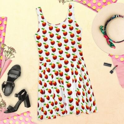 Peach love Fruit Pretty Skater Dress Polyester Spandex
