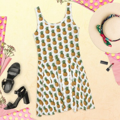 Pineapple Lover Skater Dress Pretty Fun Polyester Spandex