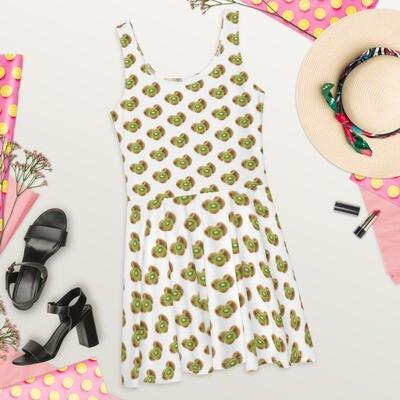 Kiwi Fruit Lovers Print Skater Dress Polyester Spandex