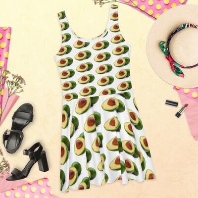 Avocado Lover Skater Dress Polyester Spandex