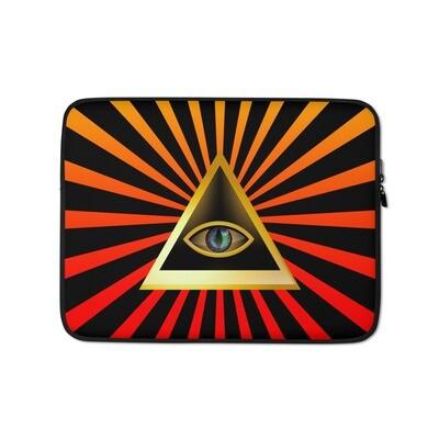 Triangle Illuminati Eye Orange Laptop Sleeve