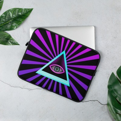 Triangle and Eye Iluminati Purple Laptop Sleeve