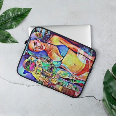 Cool Astronaut Girl Art Graffiti Laptop Sleeve