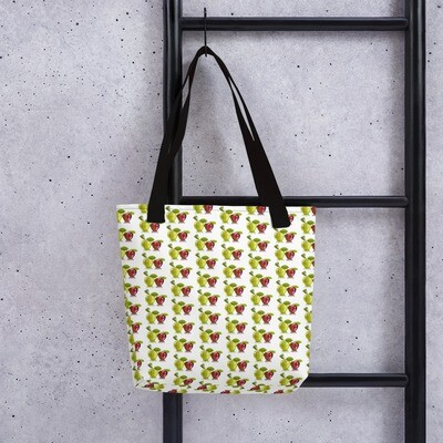Red and Green Apple Fruit Print Tote bag Polyester Fabric
