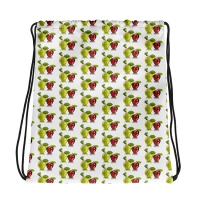 Red and Green Apples Fruit Print Drawstring bag