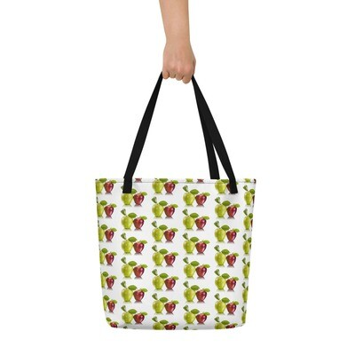 Red and Green Apples Fruit Print Beach Bag Polyester