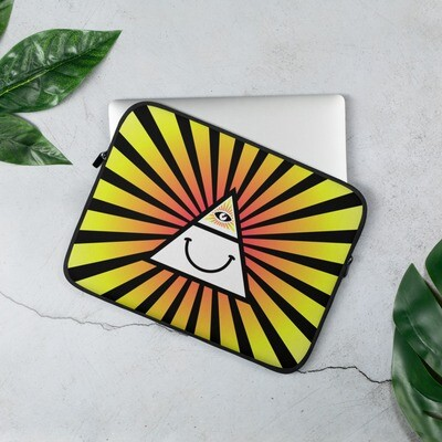 Illuminati Happy Triangle All Seeing Eye Yellow Laptop Sleeve