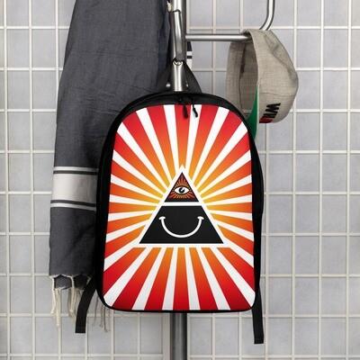 Illuminati Happy Face Red and Black Minimalist Backpack