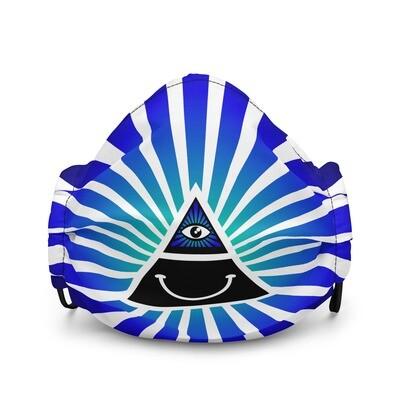 Cool Face Mask Iluminati Happy Style Black and White Premium Face Mask