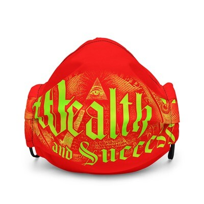 Cool Red Mask Wealth and Success Illuminati Style Premium Face Mask