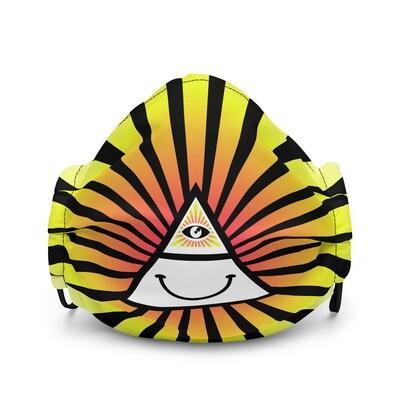 Cool Face Mask Iluminati Happy Style Black and Yellow Premium Face Mask