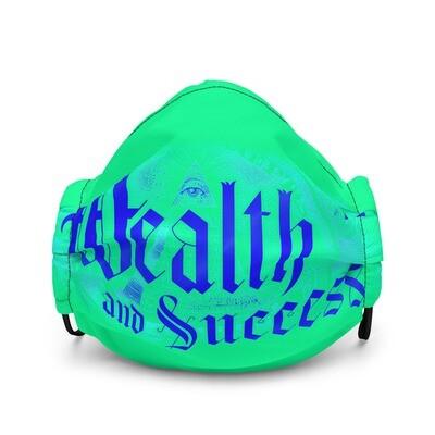 Cool Green Mask Wealth and Success Illuminati Style Premium Face Mask