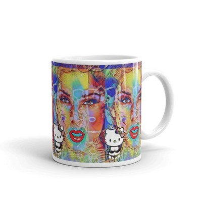 Funky Graffiti Hello Kitti White Ceramic glossy mug