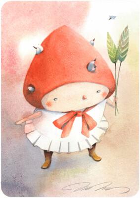 Red Hat Girl - Carte Postale